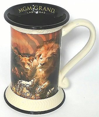 MGM GRAND Mug Las Vegas White Black Brown 3D LION FACE Beer Stein Ceramic