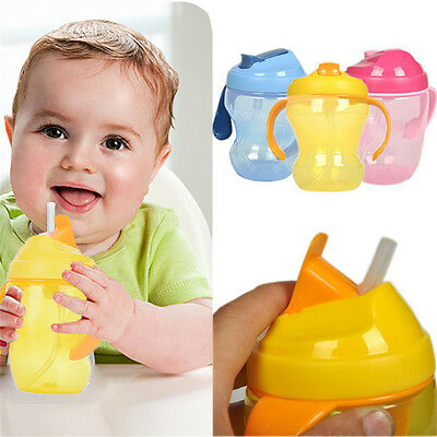 Baby Sippy Cups Kid Drinking Bottles Infant Children Training Dual Handles Straw