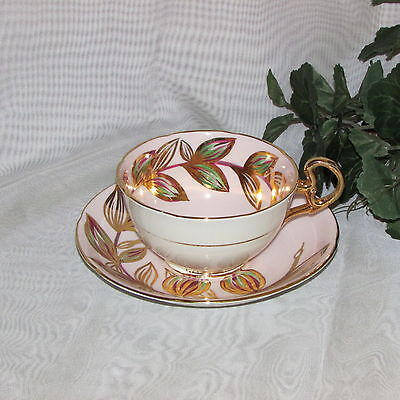Royal Grafton Studio Craft Pink Cup & Saucer Hand Painted Gold Leaf Bone China