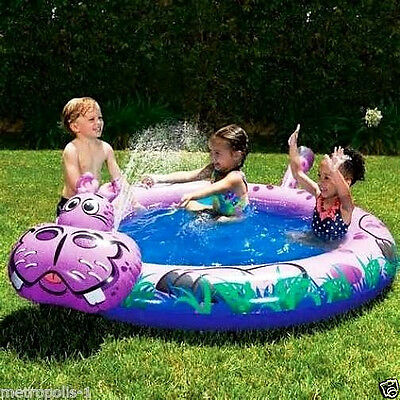 Banzai Kids Spray 'n Splash Hippo Swimming Pool,sprinkler,& Jungle Graphics,new