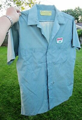 SINCLAIR OIL Vintage Gas Service Station Attendant Uniform Shirt DINOSAUR PATCH