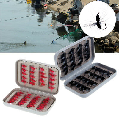 40Pcs Fly Fishing Lure Flies Feather Hooks Baits With Box Tool Fishing Tackle