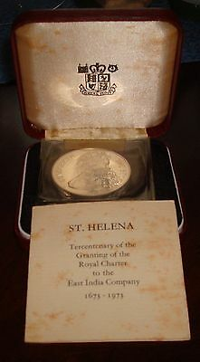 1973 St Helena 25 Pence Silver Proof Crown With Case