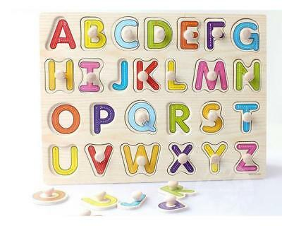 Alphabet ABC Wooden Jigsaw Children Baby Learning Educational Puzzle Toy