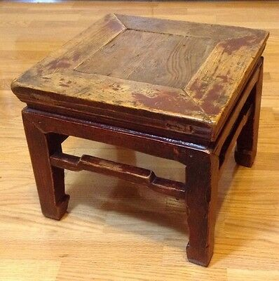 Chinese Antique Square Wood Handmade Stool / Stamp
