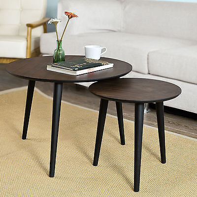 SoBuy® Set of 2, Nesting Tables,Round Wooden Side Table,Coffee Table,FBT40-BR,UK