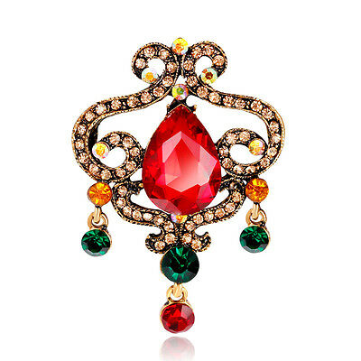 Chinese Style Accessory Vintage Gold Plated Rhinestones Glasses Alloy Brooch Pin