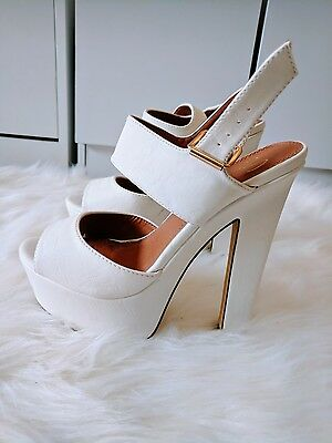 Women's SPURR White Platform Heels Shoes Size 7 (EU 38)