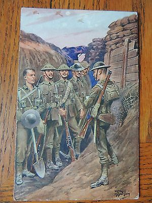 ww1 colour postcard photo roll call