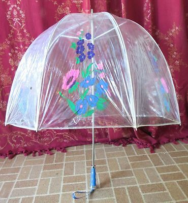 1960s Vintage Clear Vinyl Bubble Umbrella Colorful Floral Print Iconic Accessory
