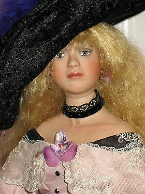 "22"" Amanda, Victorian Lady Doll, Pink Dress With Black Lace, Collector Condition"