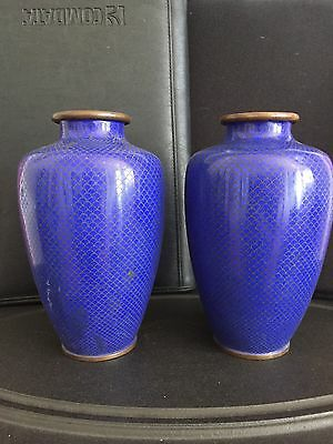 """Amazing Pair of Chinese Cloisonne 7"""" Vases Deep cobalt Solid Blue set 2"""