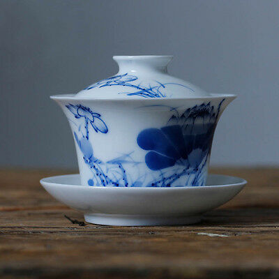 Chinese Blue and white porcelain tea bowl cup Hand painted lotus gaiwan 120cc