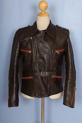 Vtg 50s Haelson GERMAN Leather Motorcycle Luftwaffe Officers Jacket Small