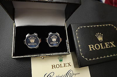Rolex Silver & Gold Plated Rare Cufflinks New Boxed & Card