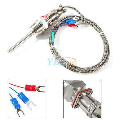 "RTD Pt100 Temperature Sensor Probe L 5cm 1/2"" NPT Thread w/ Detachable Connector"