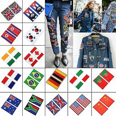 Fashion Nation Flag Emblem Iron On Patch Sew Embroidered Trim 16 Sizes Choice
