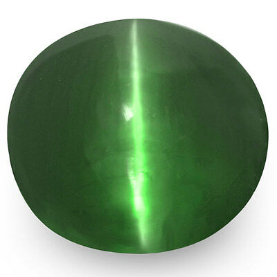 3.22-Carat Deep Green Alexandrite Cat's Eye with Strong Color Change Effect