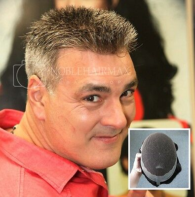 Mens Hair Replacement System French Lace front with Skin Hairpiece Toupee