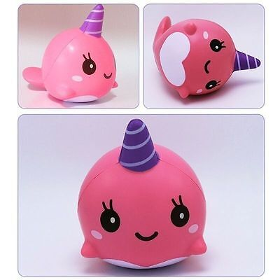 Pink 10CM Slow Rising Strap Toy Cartoon Soft Squishy Whale Millie Squeeze