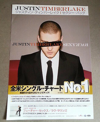JUSTIN TIMBERLAKE Sexy Back 2006 Japanese Flyer / mini Poster 11x8 inches
