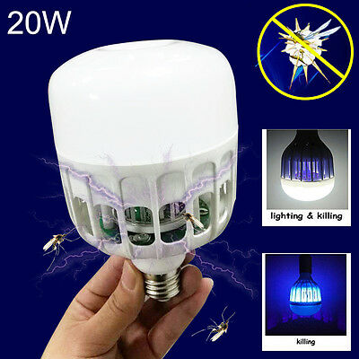 LED Insect Zappers Light Bulb E27 20W Anti-Mosquito Flying Insects Moths Killer