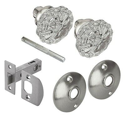 Defiant Glass Door Knob Passage Set Satin Nickel 2 Knobs Home Antique Style New