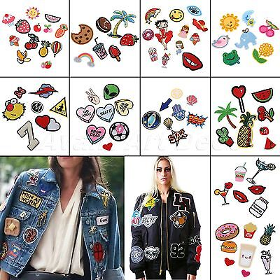 1 Set Embroidered Iron On Patches Badge Fabric Applique Sewing Craft DIY Cute