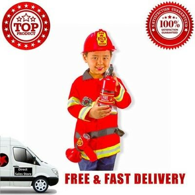 Melissa Doug Fire Chief Role Play Costume Set Jacket Helmet Badge Extinguisher R
