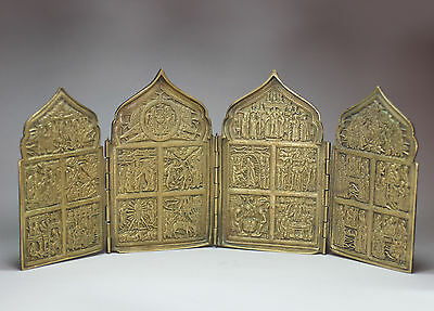 Antique Russian tetraptych (four panel) metal travelling icon, 18th/19th century