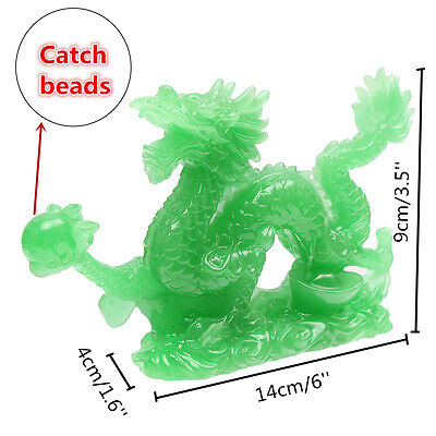 Jade Color Chinese Feng Shui Dragon Figurine Statue for Luck Success Lucky 6''