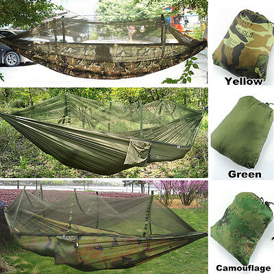 Double Army Military Camouflage Tent Hammock Jungle Camping Hiking Mosquito Net