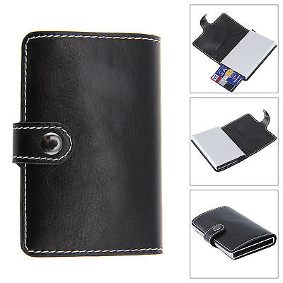 Women Men Aluminum Leather ID Credit Card RFID Protector Holder Purse Wallet New