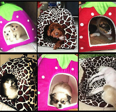 Portable Dog House Folding Pet Strawberry Kennel Cat Puppy Indoor Bed doghole
