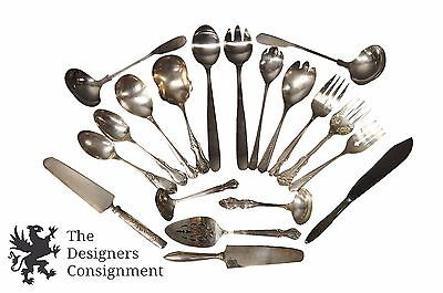 19 Piece Assorted Lot Vintage Silver Plate Serving Utensils Spoons Forks Knives