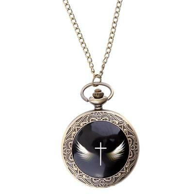 Vintage Style Classic Cross Wing Pocket Watch 36/80cm Chain Antique Necklace Hot