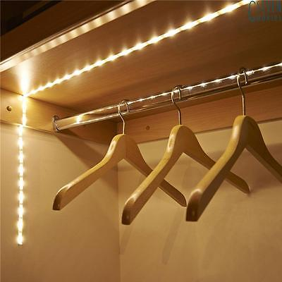 Battery Operated 1M LED Strip Light Wireless PIR Motion Sensor Wardrobe Cabinet