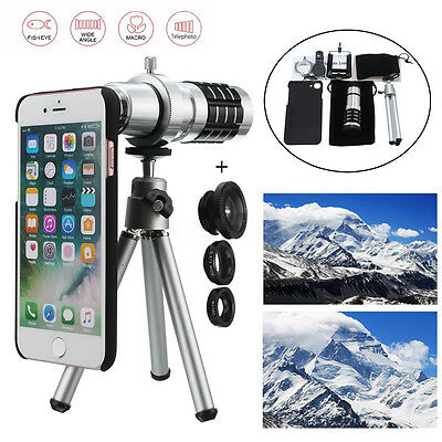 All in 1 12x Tripod Accessories Phone Camera Len Top Kit For iPhone 7 Cellphone