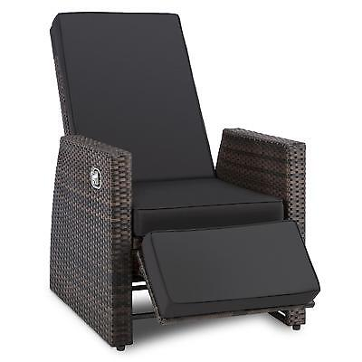 Modern Garden Deck Chair Home Furniture Rattan Steel Grey Waterproof Recline