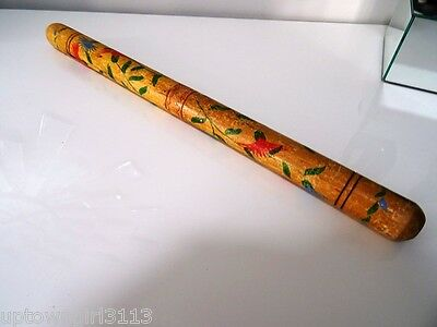 FOLK ART antique KNITTING NEEDLE CASE HOLDER? musical instrument? hand painted