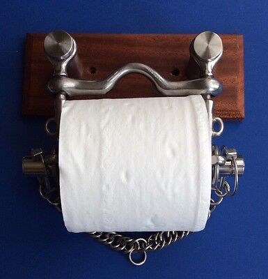 S/Steel Pelham Horse Bit Toilet Roll Holder with Mahogany Back Plate
