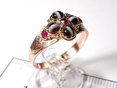 Georgian Rose Gold Banded Agate Ruby Ring