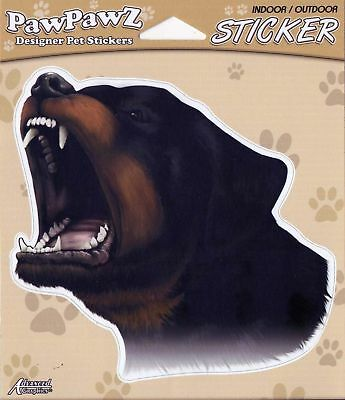 "Rottweiler Growling Decal Or Bumper Sticker 5"" Adhesive Back Gifts Dogs"