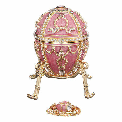 Faberge Egg with Arrows Trinket Jewel Box with Flower & Pendant 3.2'' 8.2cm pink