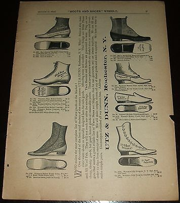 Original 1892 Full Page Illustrated Shoe Advertisement Utz & Dunn, New York