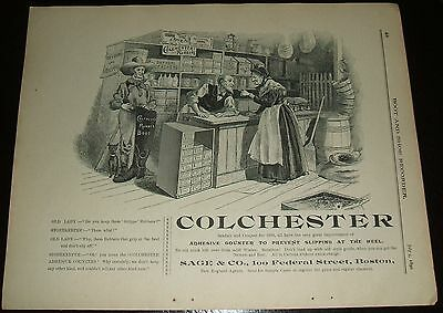 Original 1890 Full Page Illustrated Advertisement for Colchester Rubbers
