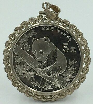 CHINA 1995 - 5 YUAN SILVER 1/2 OZ PANDA COIN In Sterling Bezel *PRISTINE*