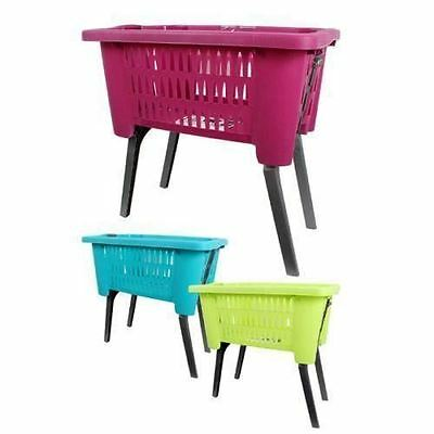 Purple Laundry Hamper Basket With Folding Legs Storage Bin Helps Reduce Bending