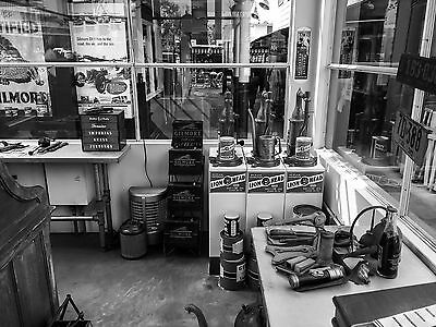 """5x7"""" photo GILMORE GASOLINE BATTERIES MOTOR OIL SERVICE STATION OFFICE SETTING"""