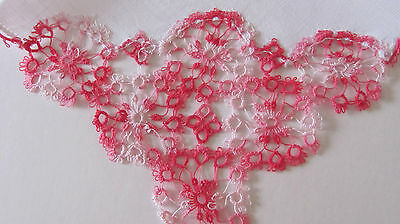 Exquisite Vintage Variegated Pink Tatted Lace Irish Linen Hankie 11""